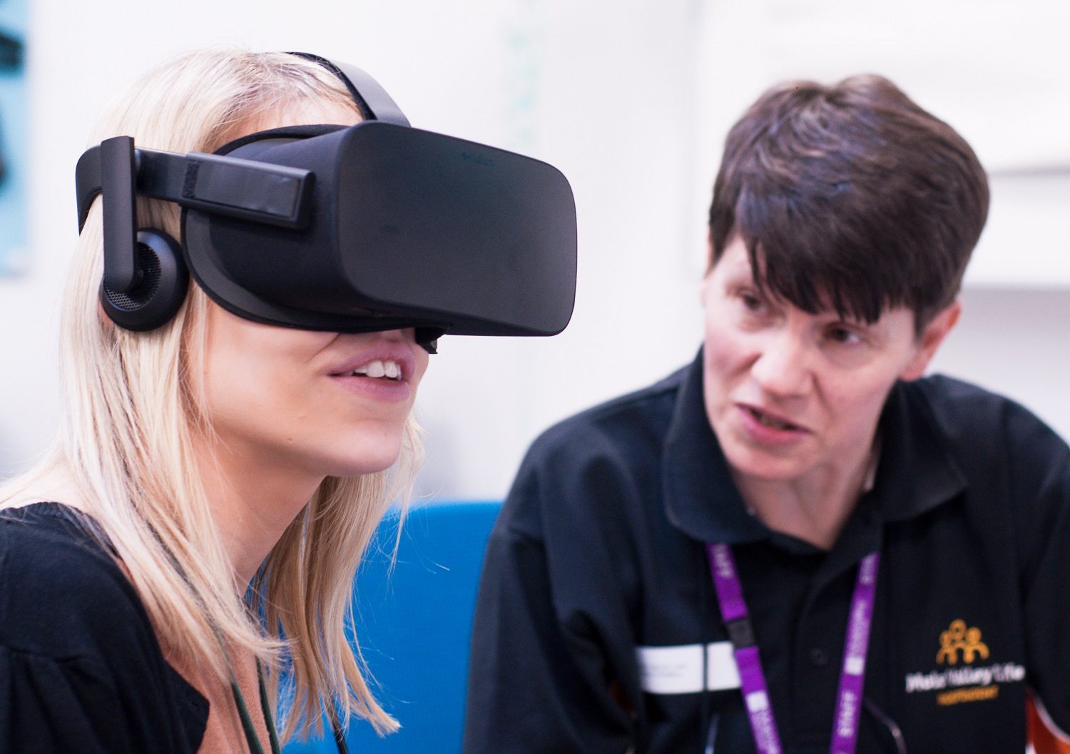 Lady with virtual reality headset on