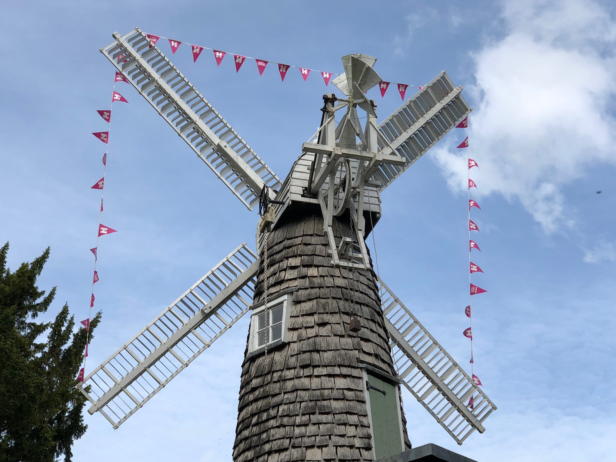 Heritage Open Days bunting around a windmill