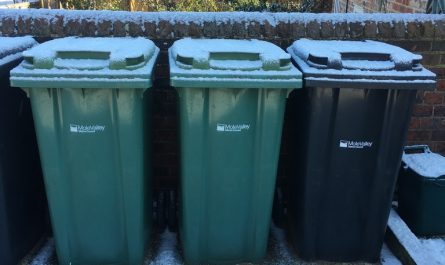 Bins with frost