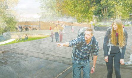 Riverside Park artists impression from Transform Leatherhead Masterplan