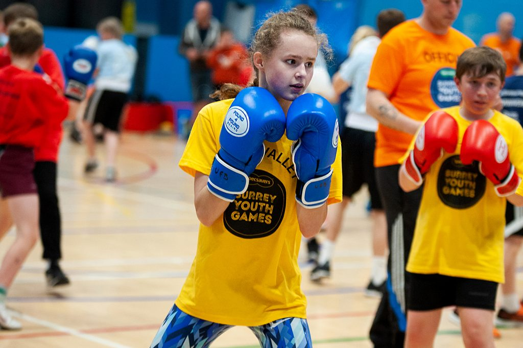 Girl boxing at Surrey Youth Games in 2019.