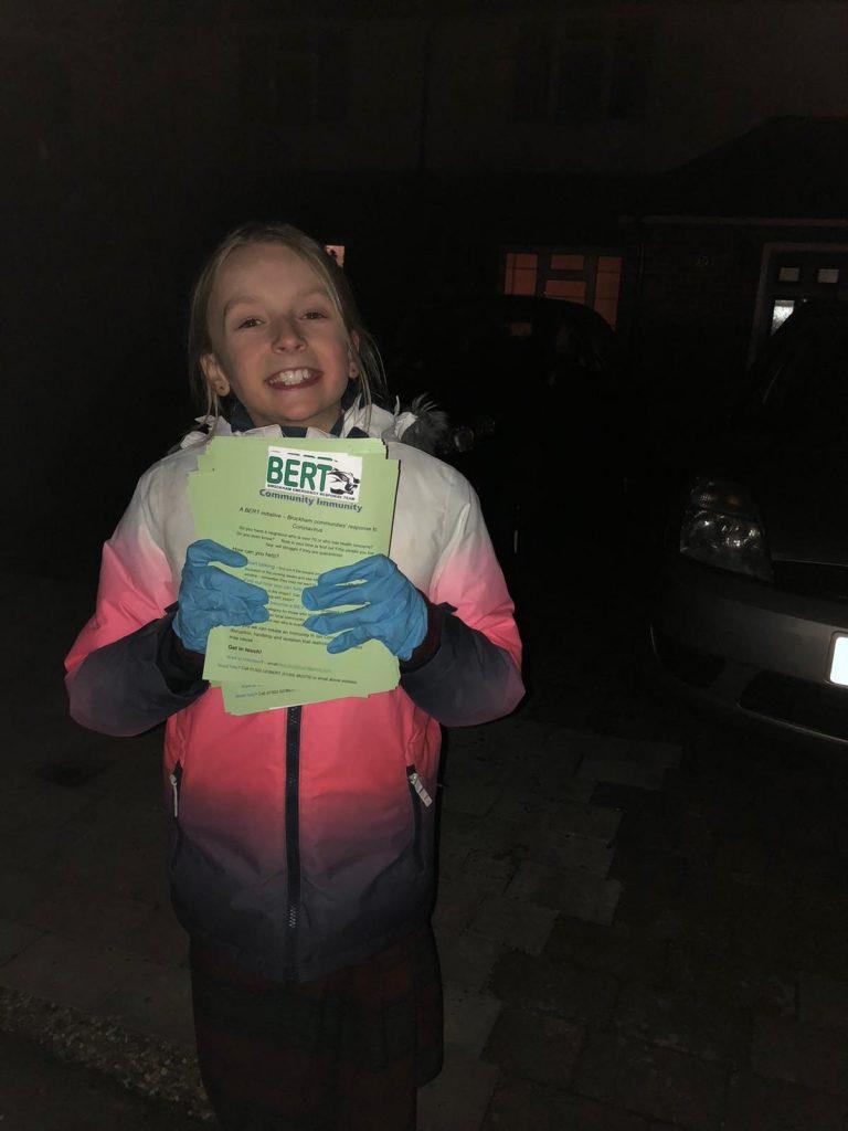 BERT - trustee daughter Olivia Heppenstall helping post leaflets to recruit volunteers